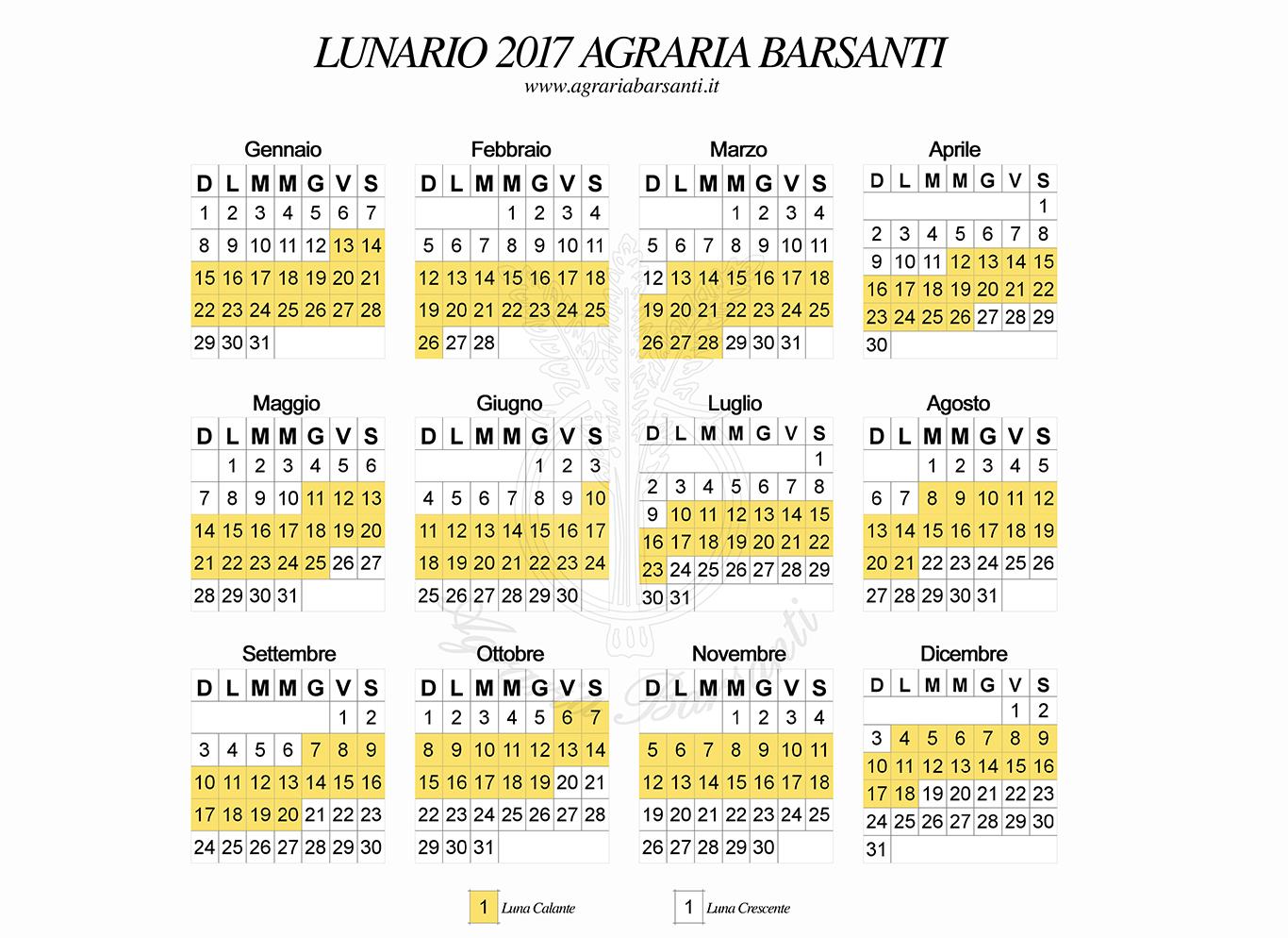 Il Calendario Della Luna.Calendario Della Luna 2017 Agraria Barsanti