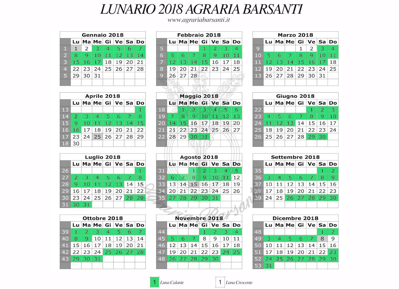 Calendario Lunare Dicembre 2017.Calendario Della Luna 2018 Agraria Barsanti