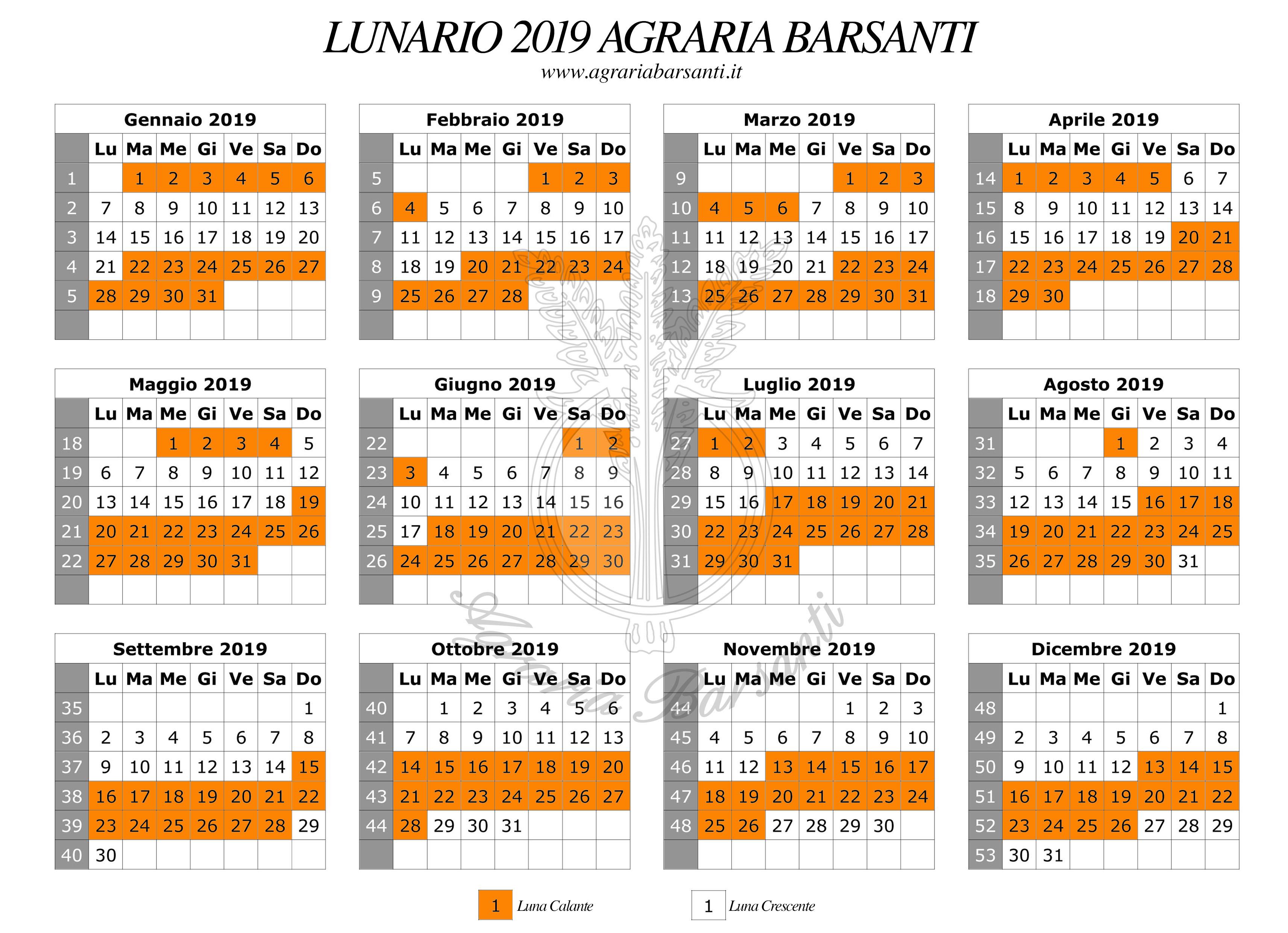 Calendario Lunare Orto.Calendario Della Luna 2019 Agraria Barsanti